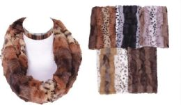 72 Units of Women's Plush Animal Print Winter Infinity Scarf - Winter Scarves
