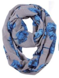 72 Units of Women's Floral Light Weight Infinity Scarf - Winter Scarves