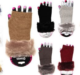 36 Units of Winter Fingerless Glove With Faux Fur Soft Soft Cuff Warmer - Winter Gloves