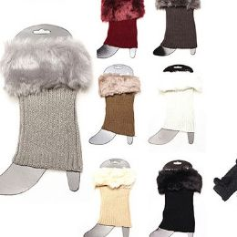 36 Units of Women Winter Faux Fur Boot Cuff Knitting Leg Warmers Short - Women's Boots