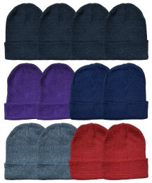 24 Units of YACHT & SMITH 24 Pack Winter Beanie Hats, Thermal Stretch Unisex Cuffed Plain Skull Knit Hat Cap (Assorted Pack B) - Winter Beanie Hats