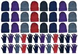 48 Units of Yacht & Smith Womens Warm Winter Hats And Glove Set Assorted Colors 48 Pieces - Winter Care Sets