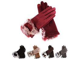 72 Units of Women Suede Winter Lining Touch Screen Faux Fur Gloves - Winter Gloves