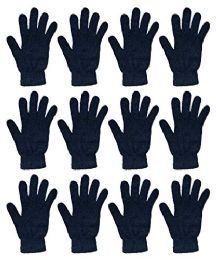 12 Units of Yacht & Smith Black Magic Stretch Gloves Bulk Thermal Winter Gloves Solid Black - Knitted Stretch Gloves