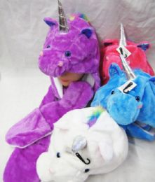 24 Units of Plush Unicorn Hat Long with Hand Warmer - Winter Animal Hats