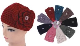 96 Units of Knit Flower Headband - Ear Warmers