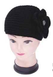 72 Units of Knit Flower Headband In Black - Ear Warmers