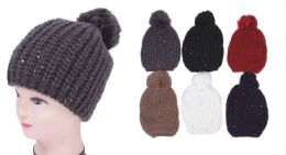 48 Units of Women's Sequin Knit Hat - Winter Beanie Hats