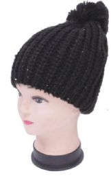 48 Units of Women's Black Sequin Knit Hat - Winter Beanie Hats