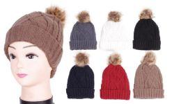 48 Units of Women's Knit Hat With Pom Pom - Winter Beanie Hats