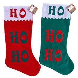 24 Units of Stocking Jumbo 30 Inch Felt Hohoho Scalloped Cuff 2 Assorted Colors - Christmas Stocking
