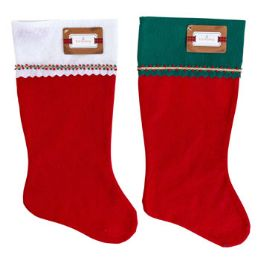 36 Units of Stocking Felt 19 Inch With Braided Trim White Green Cuff - Christmas Stocking