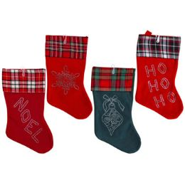 24 Units of Stocking 18 Inch Soft Felt With Plaid Cuff & Gem Designs - Christmas Stocking