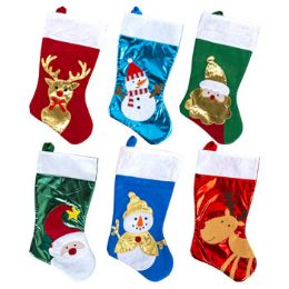 36 Units of Stocking 18 Inch 6 Assorted Colors Christmas With Shiny Pleather & Felt Detail - Christmas Decorations