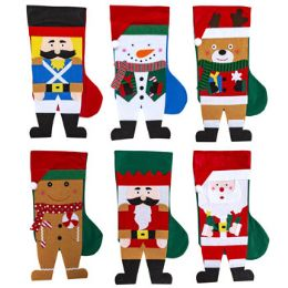 24 Units of Stocking 18 Inch 6 Assorted Colors Christmas Full Body Characters With Legs - Christmas Decorations