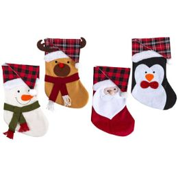 24 Units of Stocking 18 Inch 4 Assorted Felt Characters With Plaid Or Buffalo Hat Cuff - Christmas Decorations