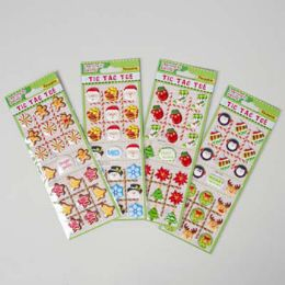 48 Units of Sticker Puffy Tic-Tac-Toe 4 Assorted Stocking Stuffer Xmas - Christmas Decorations