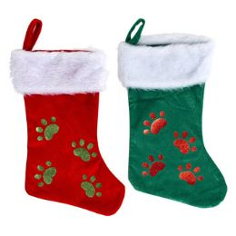 24 Units of Pet Stocking Deluxe - Christmas Stocking