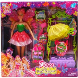 "12 Units of 11.5"" DIANA FAIRY DOLL WITH ACCESS IN WINDOW BOX 3 ASSORTED COLOR - Dolls"