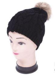 48 Units of Women's Black Knit Hat With Pom Pom - Winter Beanie Hats