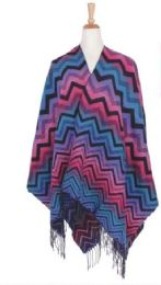 36 Units of Women's Chevron Waved Poncho - Winter Pashminas and Ponchos