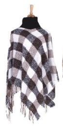 36 Units of Women's Checker Design Winter Ponchos - Winter Pashminas and Ponchos