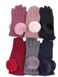 72 Units of Women's Cotton Pom Pom Winter Glove - Knitted Stretch Gloves