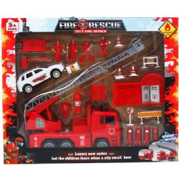 "6 Units of 22PC FIRE RESCUE WORLD WITH 10"" F/W TRUCK SET IN WINDOW BOX - Toy Sets"