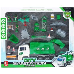 "6 Units of 22pc Sanitation World With 10"" F/w Truck Set In Window Box - Toy Sets"