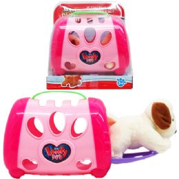"""12 Units of 5"""" Plush Dog With 5"""" Dog Cage On Platform With Blister Cover - Girls Toys"""