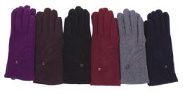 72 Units of Women's Cotton Winter Glove - Knitted Stretch Gloves
