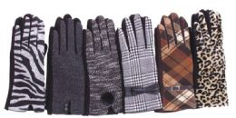 72 Units of Women's Assorted Design Winter Gloves - Knitted Stretch Gloves