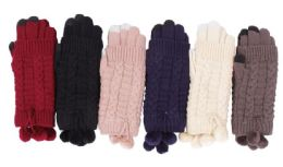 72 Units of Women Warm Winter Glove With Pom Pom - Winter Gloves