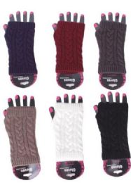 72 Units of Women's Finger Less Glove - Conductive Texting Gloves