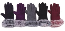72 Units of Women's Fur Cuff Winter Glove - Winter Gloves