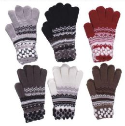72 Units of Women's Striped Winter Glove - Winter Gloves