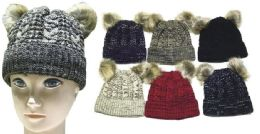 72 Units of Women's Knit Winter Hat With Double Pom Pom - Winter Beanie Hats
