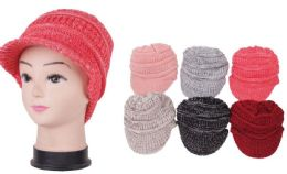 72 Units of Women's Knit Winter Hat With Visor - Winter Beanie Hats