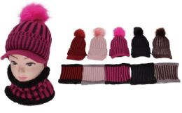 72 Units of Women's 2 Piece Knit Winter Hat With Neck Warmer - Winter Sets Scarves , Hats & Gloves