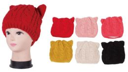 72 Units of Women's Knit Hat With Cat Ears - Winter Hats