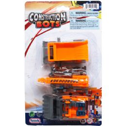 48 Units of 3 PIECE CONSTRUCTION BOTS ON BLISTER CARD - Cars, Planes, Trains & Bikes