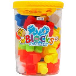 12 Units of EDUCATIONAL BLOCKS IN BUCKET WITH HANDLE - Light Up Toys