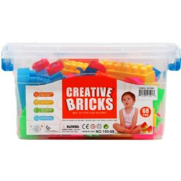 12 Units of ASSORTED COLORED BLOCKS IN PLASTIC CONTAINER - Light Up Toys