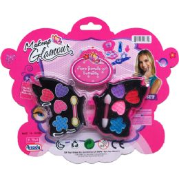 96 Units of Butterfly Shape Make Up Beauty Set On Blister Card - Girls Toys
