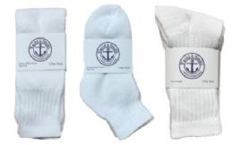 360 Units of Yacht & Smith Kid's Cotton Sock Set Assorted Styles, Crew, Ankle and Tube White - Sock Care Sets