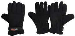 36 Units of Lady's Black Fleece Winter Gloves - Fleece Gloves