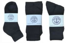 360 Units of Yacht & Smith Kid's Cotton Sock Set Assorted Styles, Crew, Ankle and Tube Black - Sock Care Sets