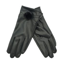 36 Units of Women's Faux Leather Glove - Leather Gloves