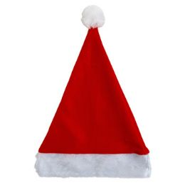 36 Units of Santa Hat 17in Felt W/plush Cuff Red/hanger Card - Christmas Decorations