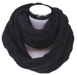 72 Units of Women's Knitted Winter Infinity Scarf In Black - Winter Scarves